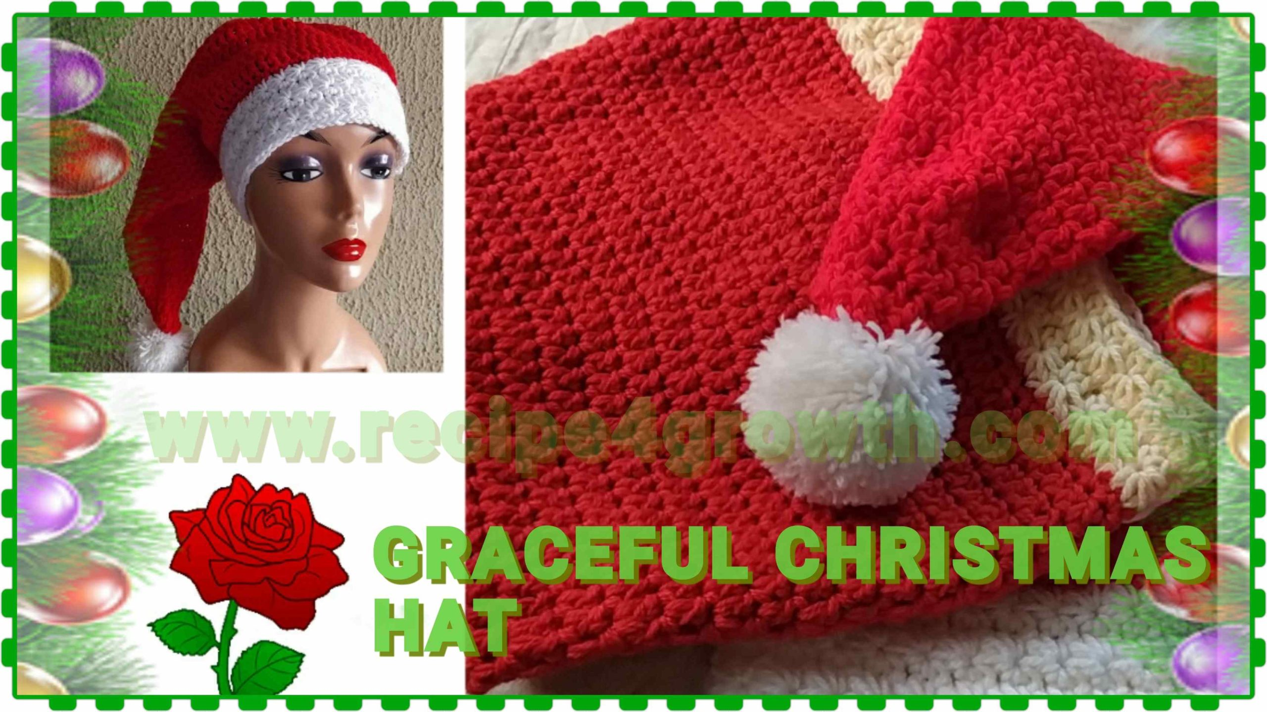 HOW TO CROCHET GRACEFUL CHRISTMAS HAT