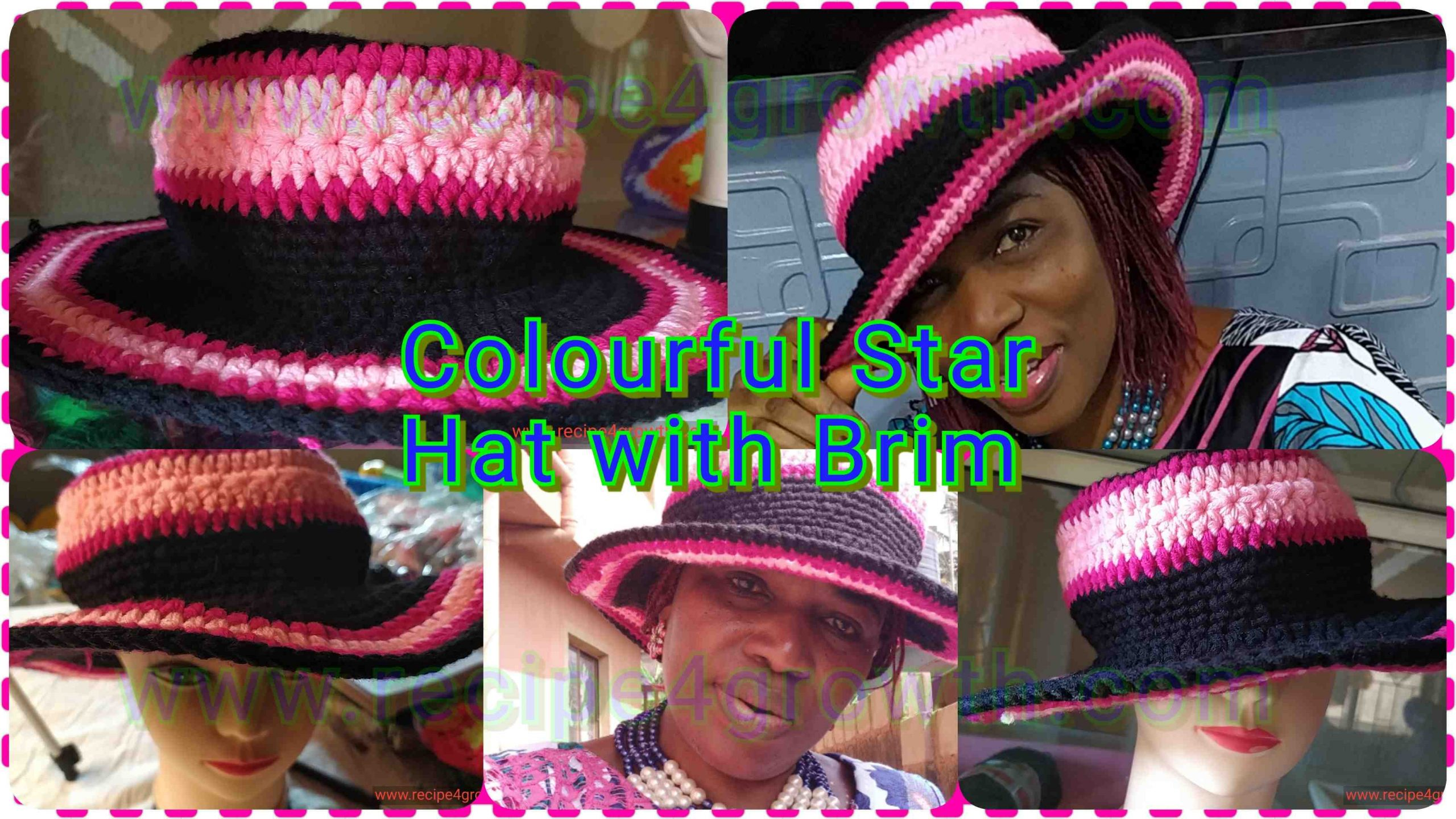 how to crochet bright coloured star hat